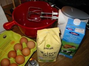 die Zutaten für Pfannkuchen